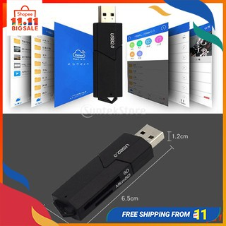 USB 2.0 Memory Card Reader 2-in-1 Dual Slot Adapter for T-Flash/SD/Micro SD