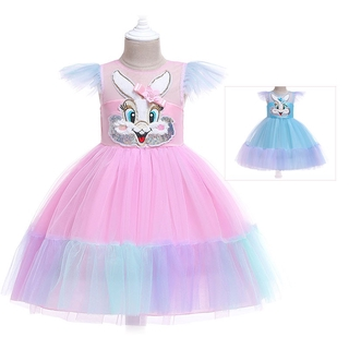 0b9d7a439371f Toddler Girls Rabbit Rainbow Tutu Princess Dress 2019 Summer Kids ...