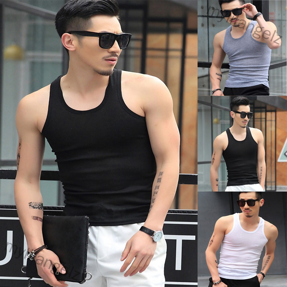 Mylilangelz Men Fashion Summer Solid Color Sleeveless Vest Shirt for Gym Fitness Sports
