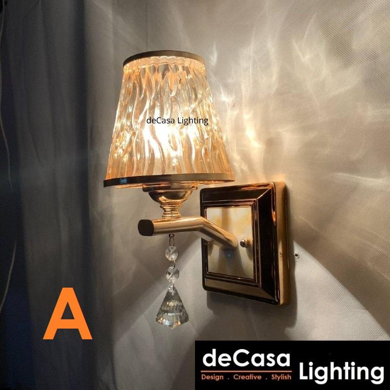 DECASA LIGHTING Modern Wall Light E27 Crystal Wall Lamp Bedroom Lamp Indoor Designer Wall Lighting 8111-8110
