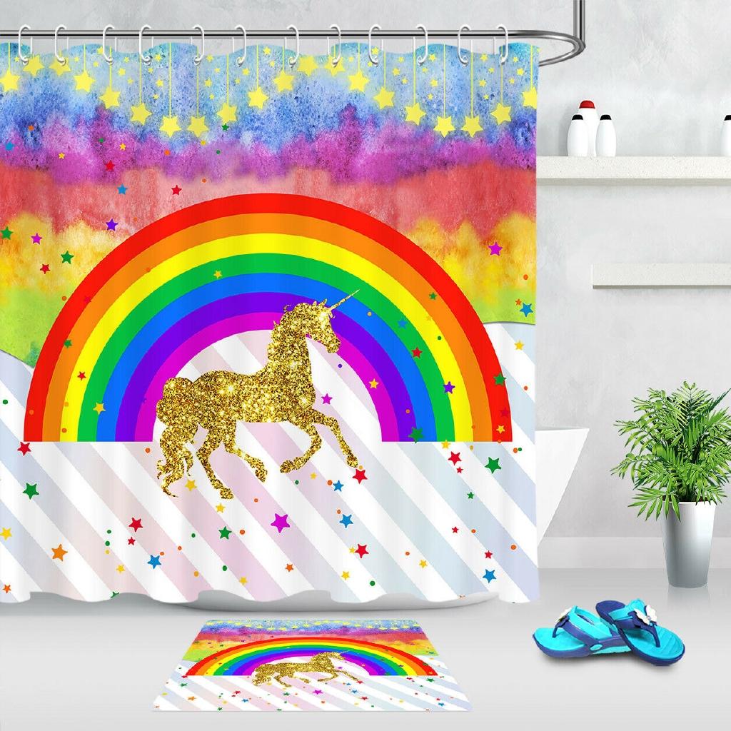Rainbow Golden Unicorn Waterproof Bathroom Fabric Shower Curtain Set Hooks