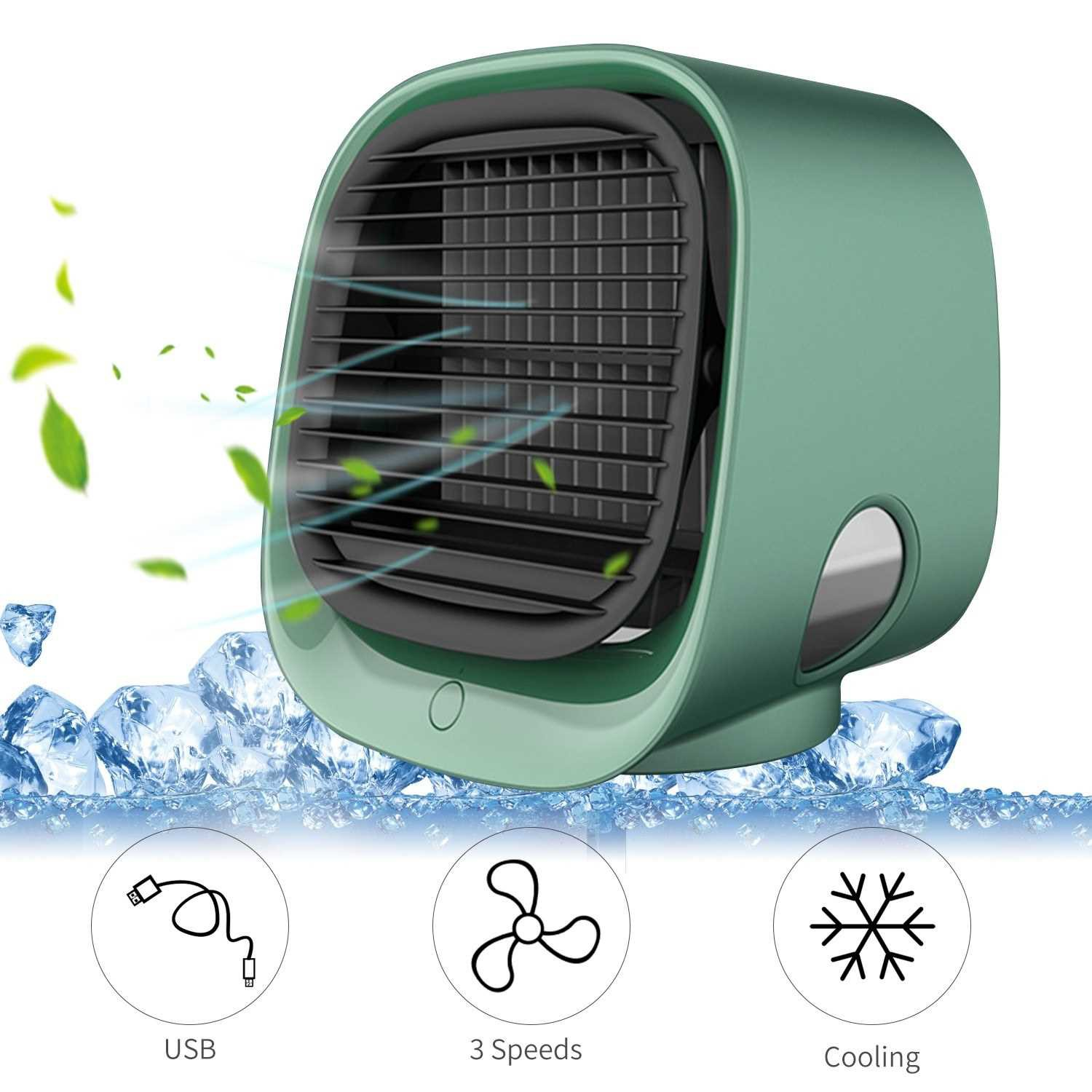 300mL Desktop Air Cooler Air Conditioner Fan Small Personal USB Desk Fan Air Cooler 3 Speeds Cooling Fan for Home Room