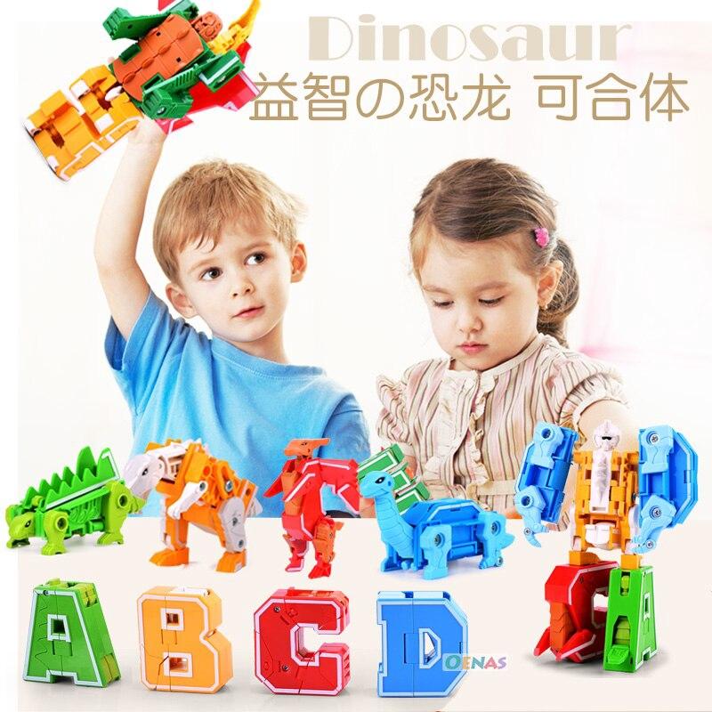 26pcs English Alphabet Deformation Robot Children/'s Educational Blocks Toys Gift