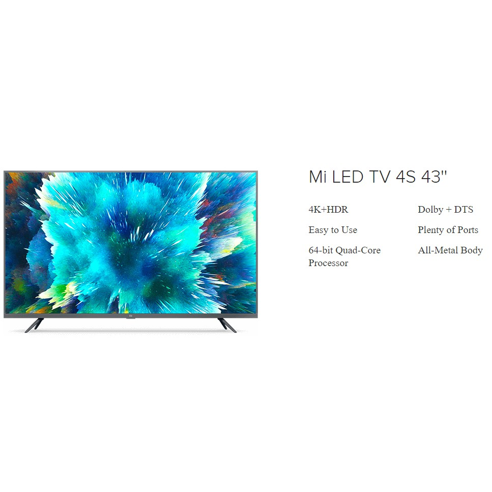 (Global English) XiaoMi LED Android Smart TV 4S 43