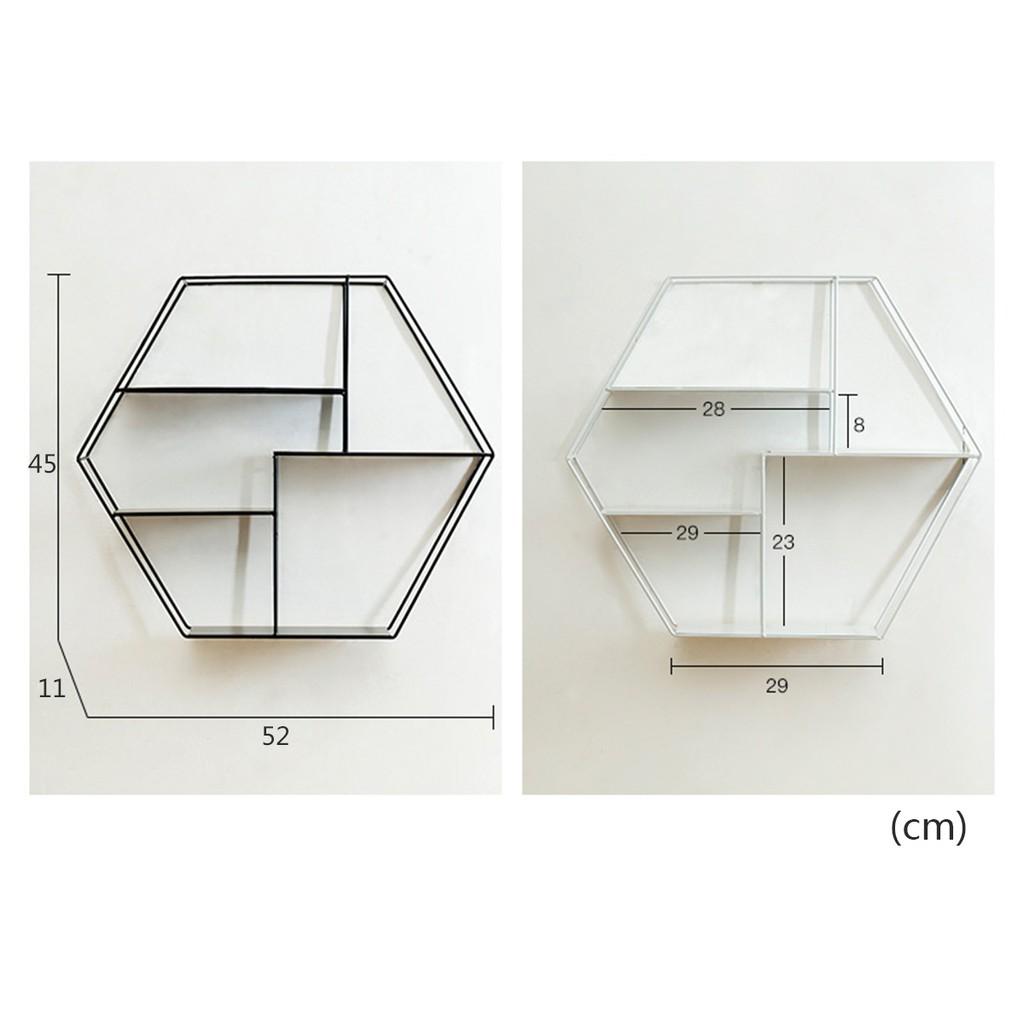 Dailystore Hexagonal Metal Shelf Shelving Cabinet Display Storage Wall Mounted