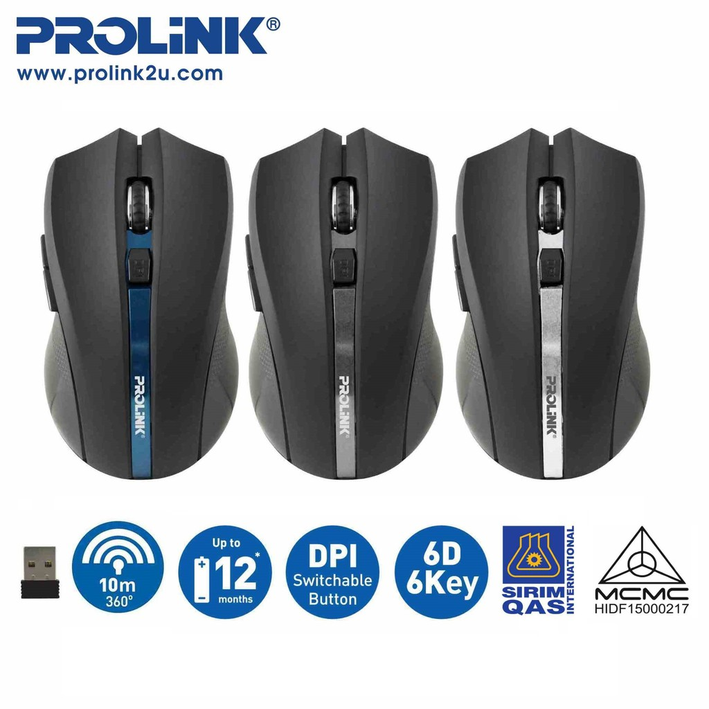Prolink Wireless Optical Mouse 6 Button 1600dpi [Free AAA Batteries] PMW6005