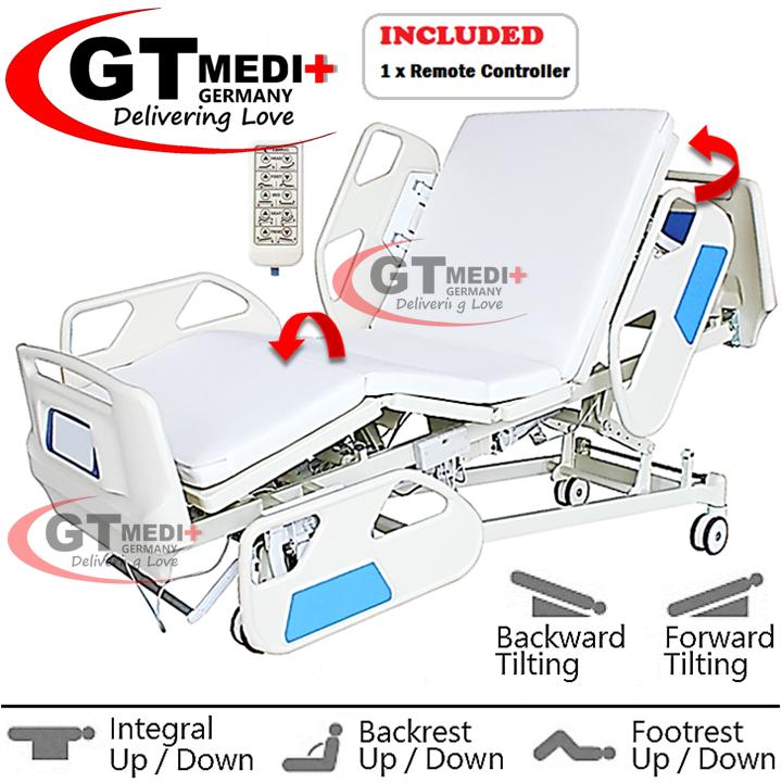 E5F3-4 GT MEDIT GERMANY Remote Control Double Crank Turn Medical Electric Hospital Nursing Bed Mattress Tilam Katil