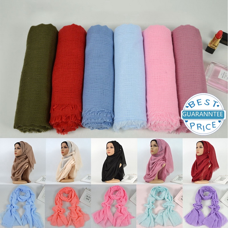Scarves for Solid Color Cotton Women's Clothing Creeping Muslim Hijabs