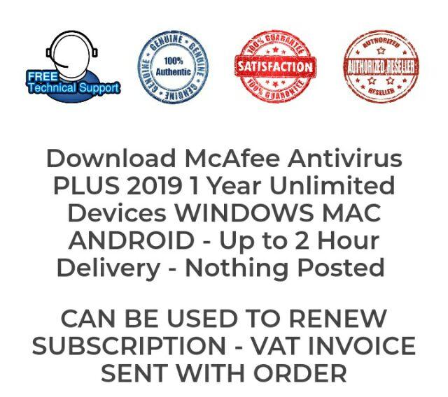 100% Genuine McAFEE Antivirus Plus 1 Year 10 Devices PC