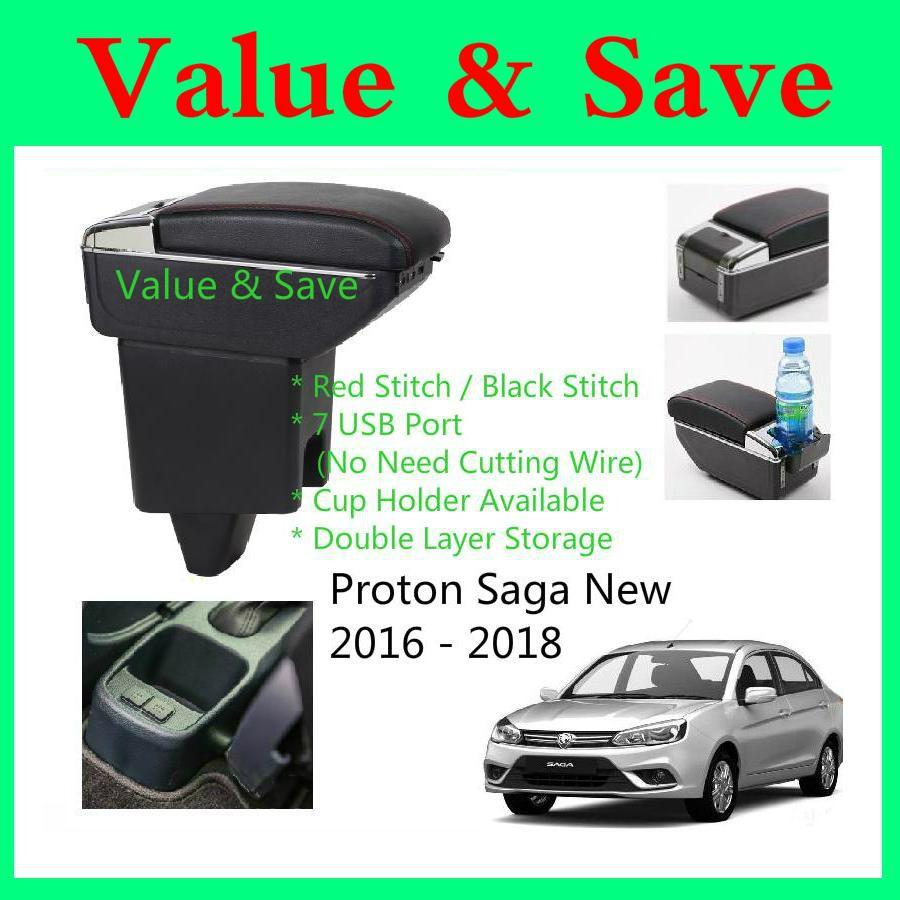 Proton Saga VVT 2016-2019 Adjustable Armrest 2 Layer With Cup Holder Ready  Stock