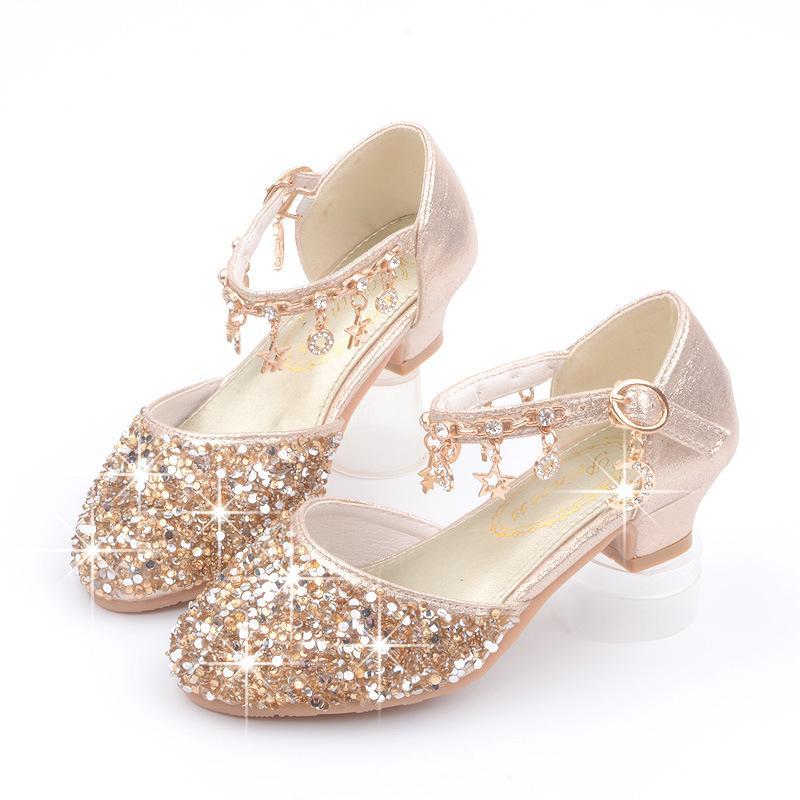 Kids Girls Elsa Frozen Princess Sandal Beef tendon high heel shoes Single Shoes