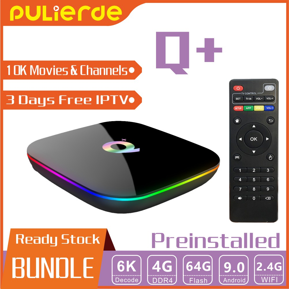 🔥Bundle🔥 Q plus 10000+ Movies and channels H6 4G+32G/64G 6K Android 9 0  TV Box H6 4 Core 64bit
