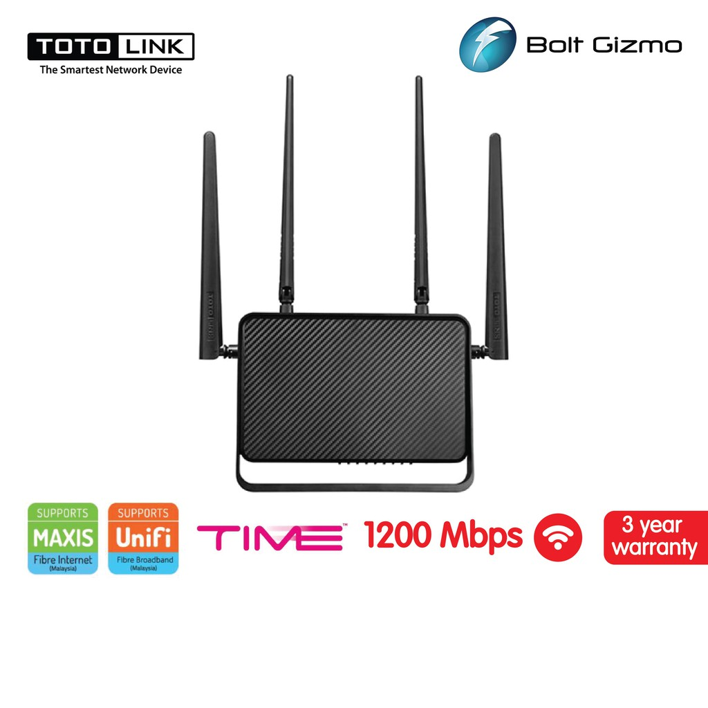 TOTOLINK A3000RU AC1200 Dual Band Gigabit  ROUTER / AP / REPEATER WITH MU-MIMO TECHNOLOGY Wireless UniFi WiFi 1200Mbps