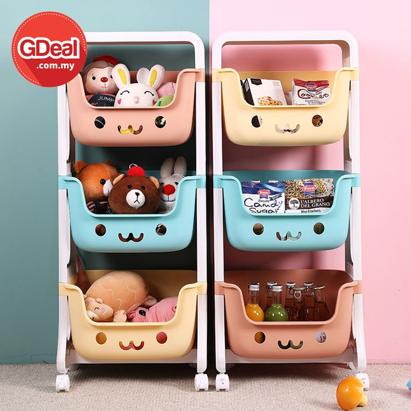 GDeal Childrens Toy Storage Shelf Floor Snack Rack Living Room Kitchen Trolley Finishing Shelf Multi layer