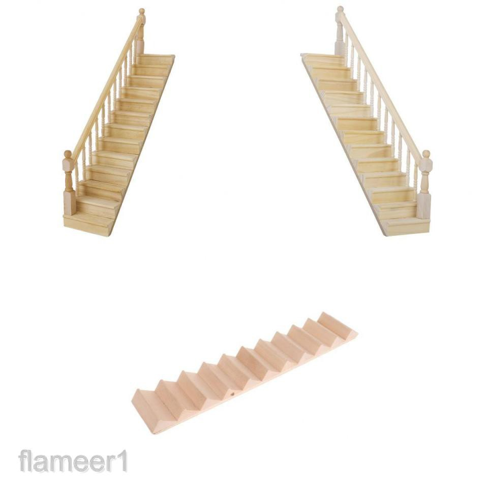 MagiDeal 2Pcs 1//12 Dollhouse Miniature Wooden Step Stair House Building