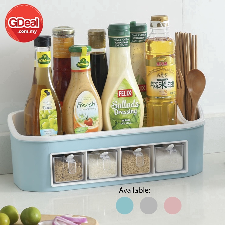 GDeal Multifunctional Double Layers Seasoning Jar Bottle Kitchen Storage Rack Set With Spoons And 4 Drawer Boxes