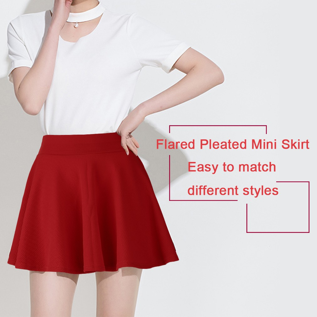 7de32ad278994 ProductImage. ProductImage ??blingbling??Korean Women Stretch Waist Plain  Skater Flared Pleated Mini Skirt