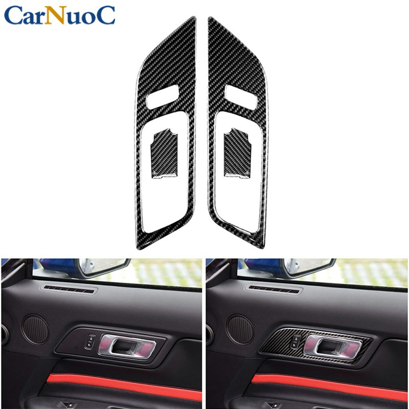 For Ford Mustang 2015-2017 Carbon Fiber Car Rearview Mirror Decor Trim Cover NEW