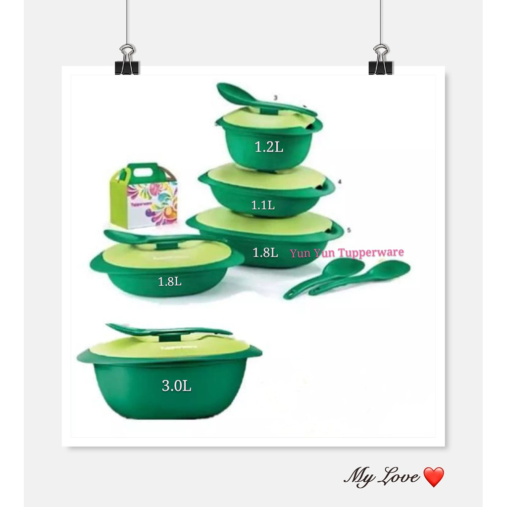 Tupperware Emerald Serving Set (4) with Gift Box + Rice Server (1) 3.0L