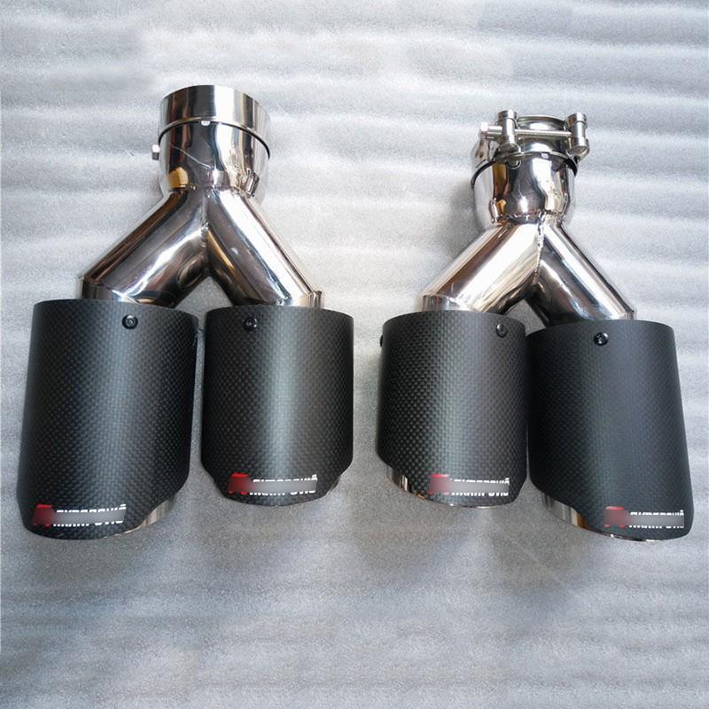 63mm Inlet 89mm Outlet Real Carbon Fiber Car Exhaust Tip Muffler Dual Tips-Left