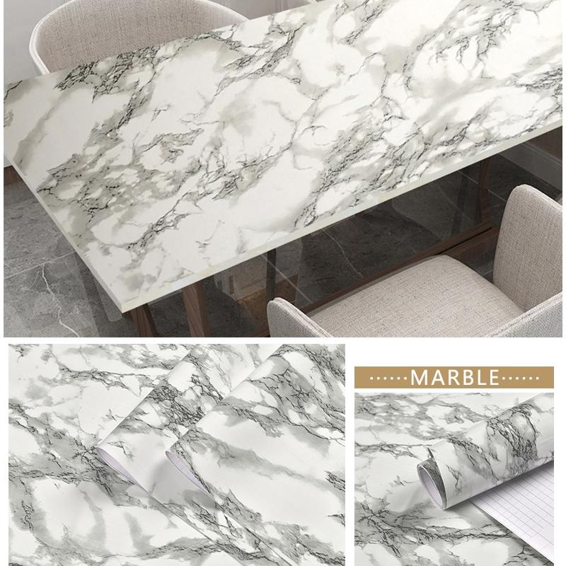 Elegant Grey Marble Wallpaper Pvc Self Adhesive Wall Sticker