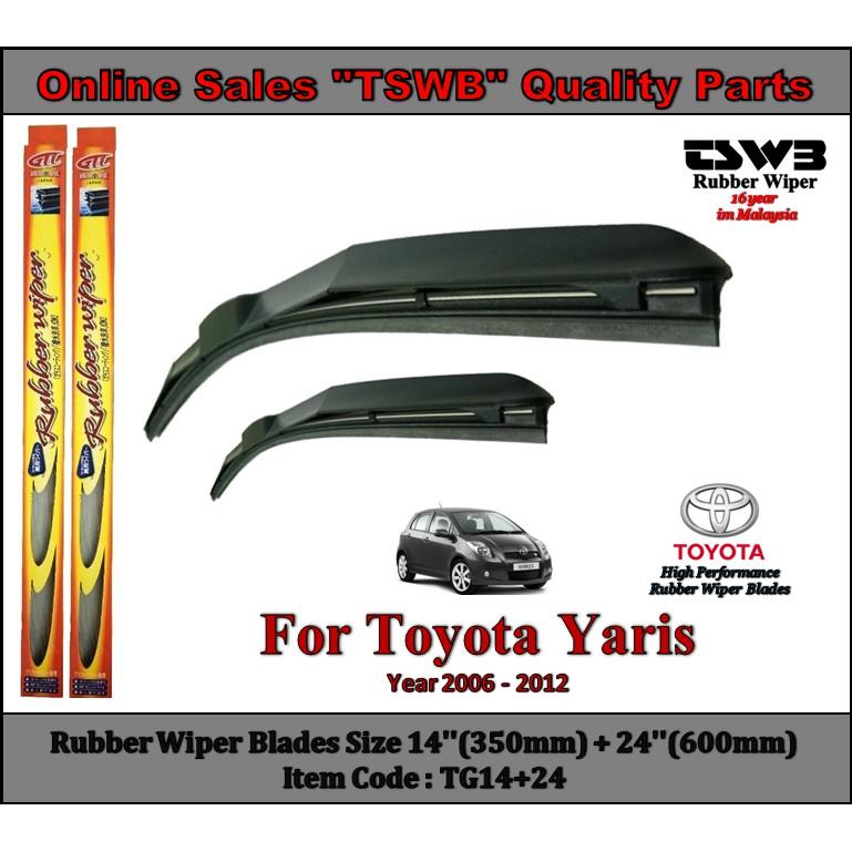 Toyota Yaris (Year 2006 - 2012) New Design Rubber Wiper Blades (TG14+24)