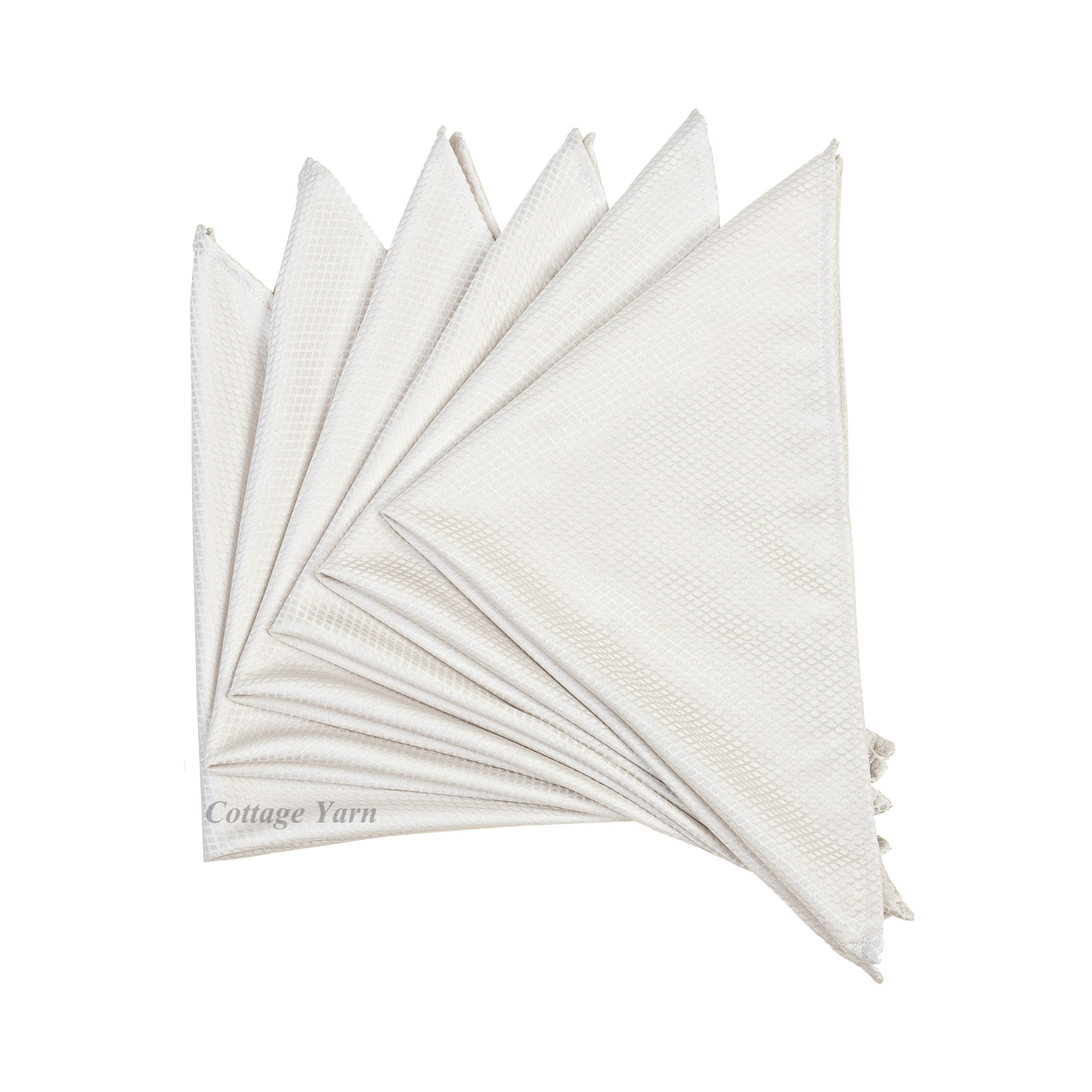 """Silver Diamond Dinner Cloth Table Napkins. Jacquard Polyester Satin 51x51cm/20x20"""". Pack of 2,4,6 or 10(Silver)"""