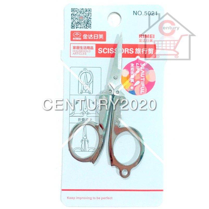 RIMEI Travel Scissors Heavy Duty Extra Sharp Stainless Steel Scissors Foldable Travel Scissors