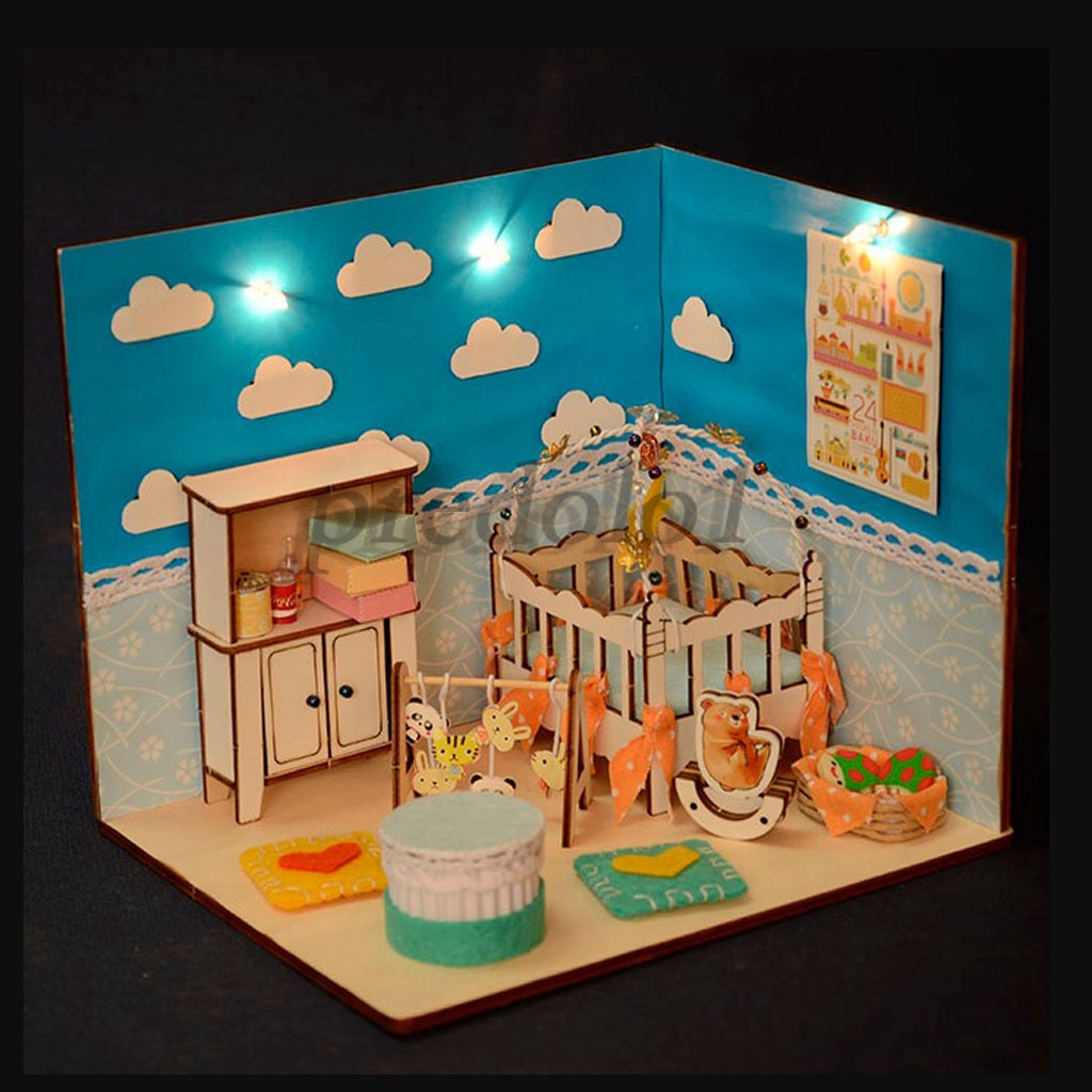 26:26 DIY Miniature Dollhouse Furniture Kit Baby Room Model Birthday Gifts