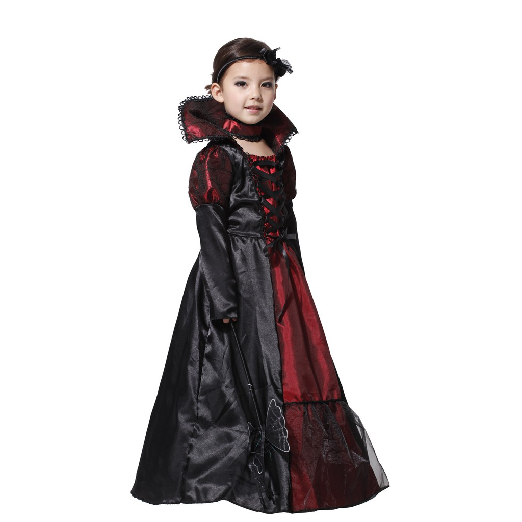 Deluxe Vampire Princess Girls Halloween Fancy Dress Kid Childs Vampiress Costume