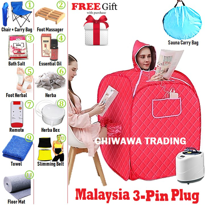 [Malaysia 3 Pin Plug] 2.2L Steam Sauna Spa Tent Slimming Weight Loss Detox Therapy + Chair + Massager + Mat