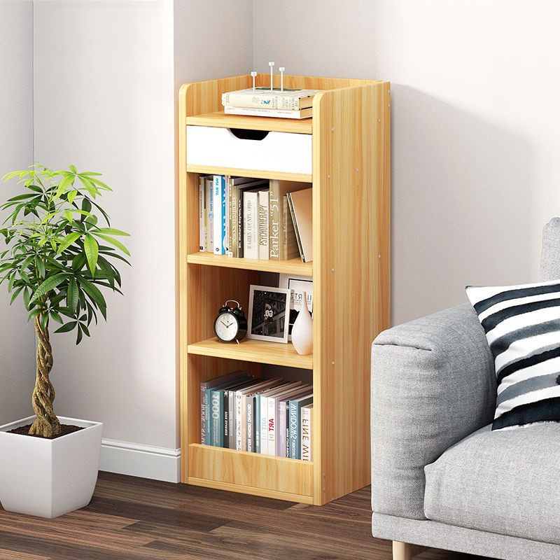 GDeal Four Layers Multifunctional Simple Floor Living Room Bookshelf With Drawer Storage