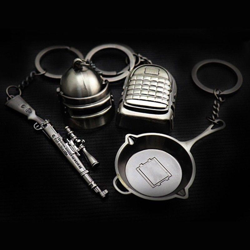 5c4bc5b14d ProductImage. ProductImage. PUBG Pan Helmet Items Key Chains Key Ring  Pendant Gaming ...