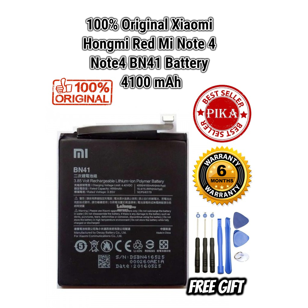 Ccxiaomi Redmi Note 4 Battery Bn41 4100mah Shopee Malaysia Charger Xiaomi 3 Mi 4i Fast Charging Original 100