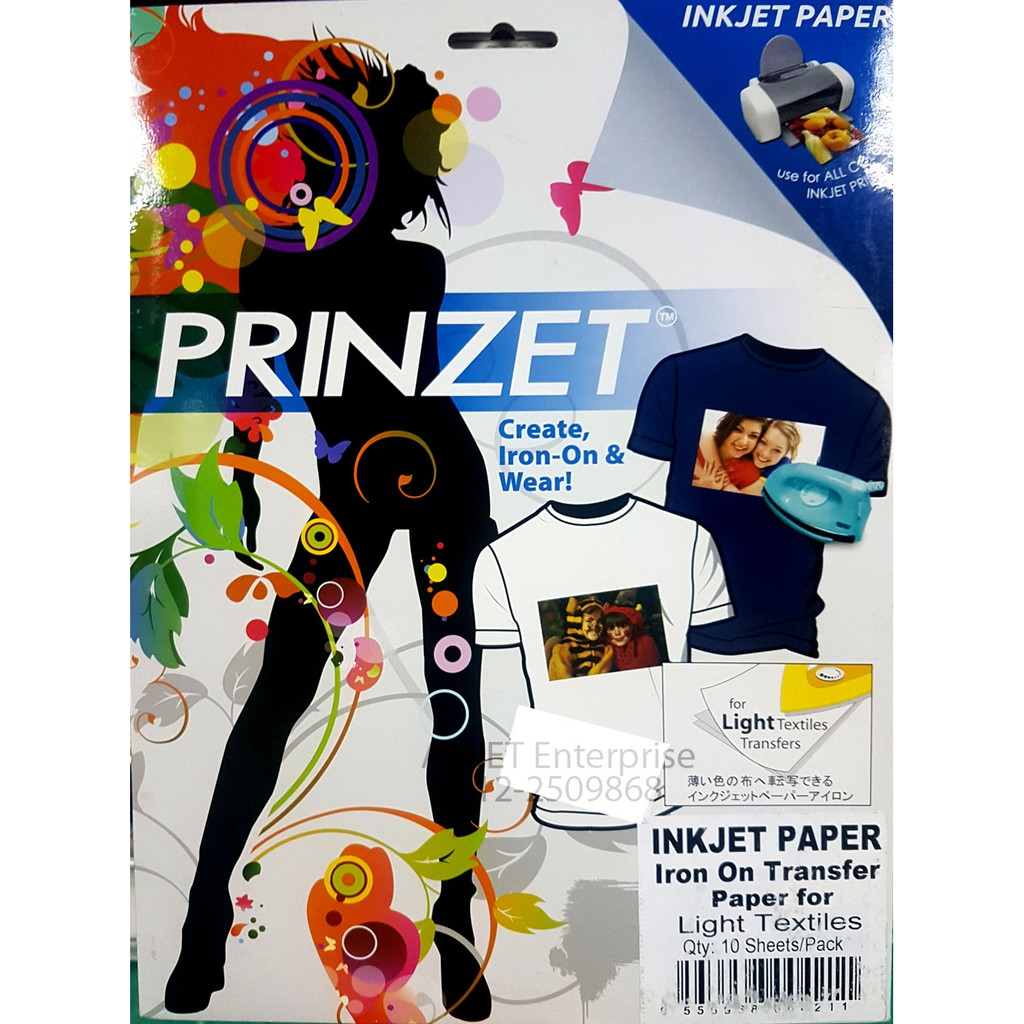 photo regarding Iron on Printable Paper titled PRINZET INKJET PAPER IRON Upon Go PAPER FOR Gentle TEXTILE 10 SHEETS PACK