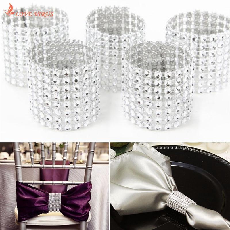 10pcs Rhinestone Designed Napkin Ring Holder Dinner Party Wedding Banquet Table