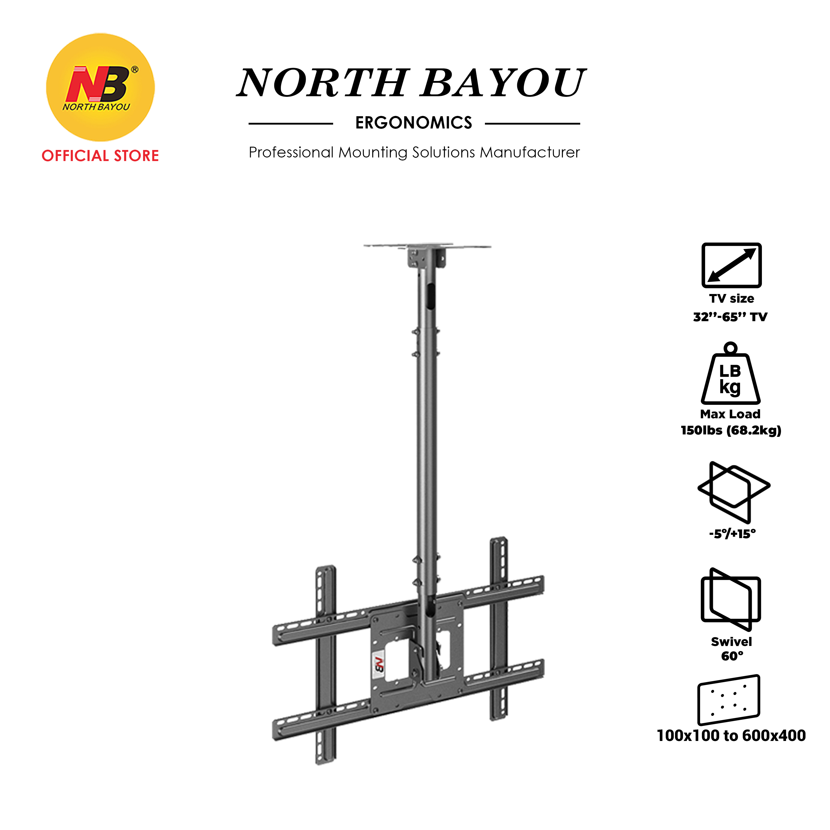 """NB North Bayou NBT560-15 90 Adjustable TV Ceiling Mount Rigid & Stable Bracket Fit 32"""" to 65"""" LCD LED for Commercial"""