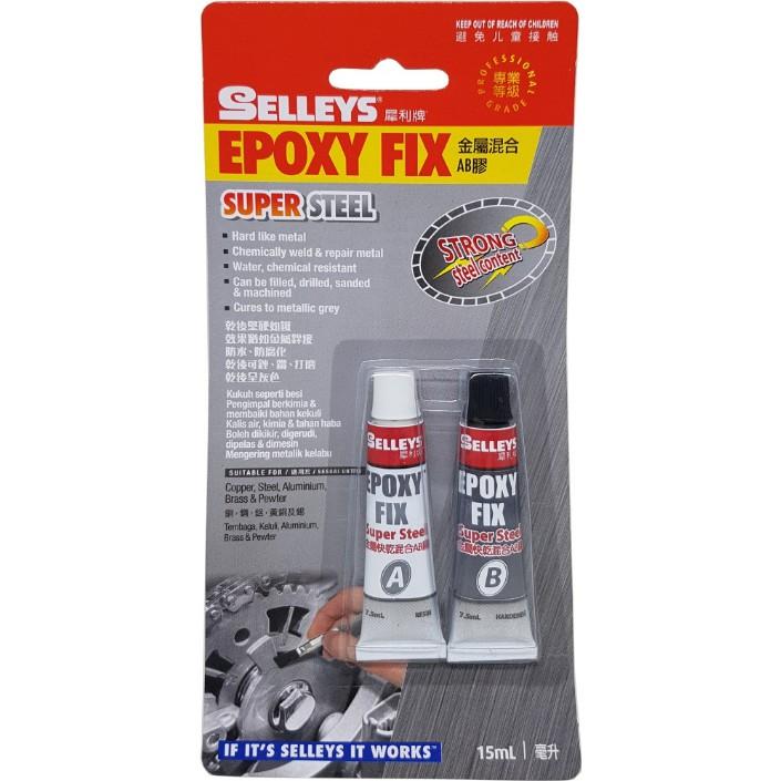 Selleys Epoxy Fix Super Steel AB Glue Araldite 2 Ton 35ml Metallic Grey  Color
