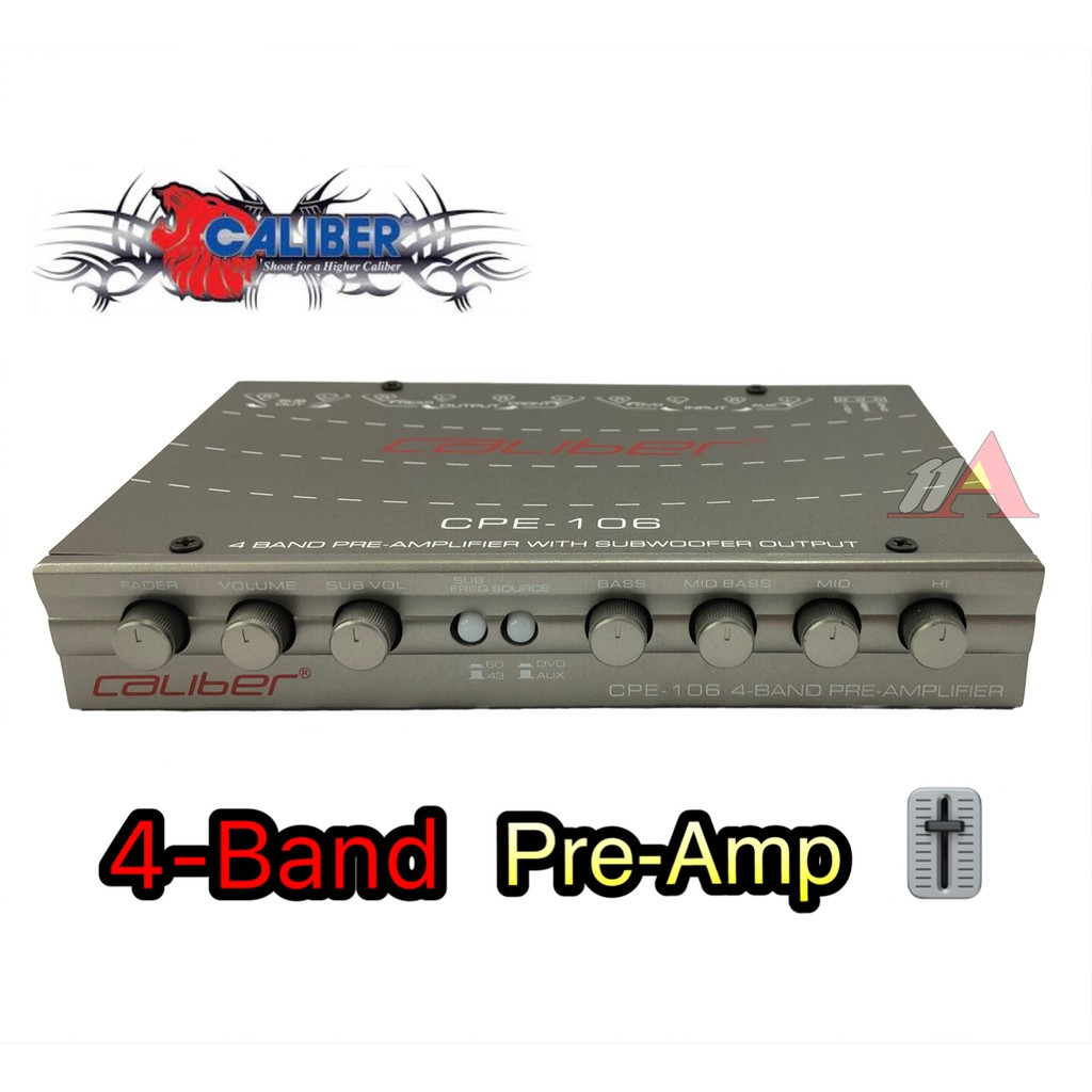 CALIBER 4-Band Pre-Amp CPE-106 Equalizer with subwoofer output suitable for  all type of car
