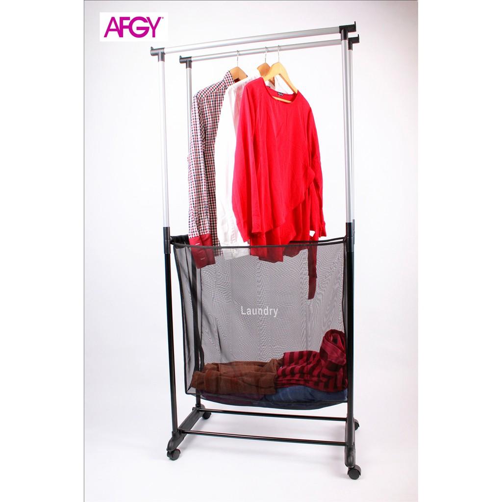 FGR 244 Double Pole Garment Rack Plus Laundry Hamper