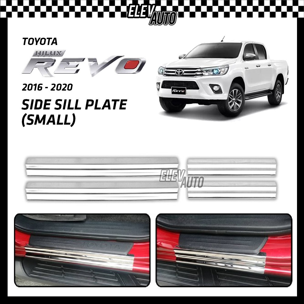 Toyota Hilux Revo 2016-2021 Anti Rust Door Side Sill Step Plate Small Size (Stainless Steel)