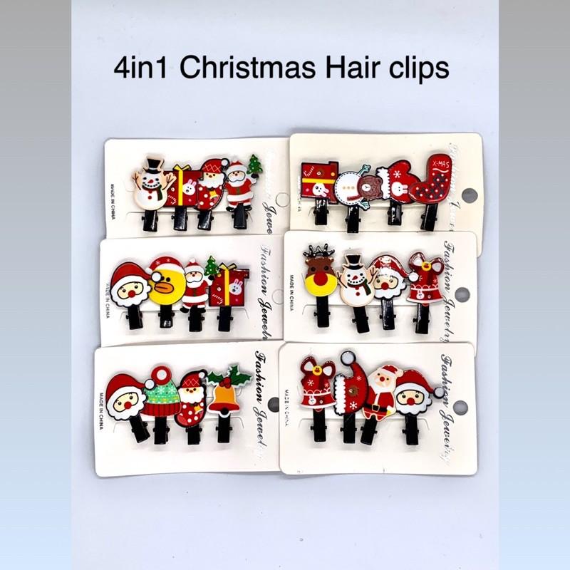 【READY STOCK】4in1 Christmas Hair clips Set Santa/ Christmas Tree/ Snowman/ Present/ Ring Bell/ Deer /Bear Hair clips