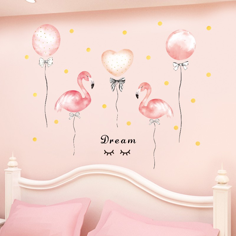 Pink Flamingo Wallpaper Room Decoration Sticker