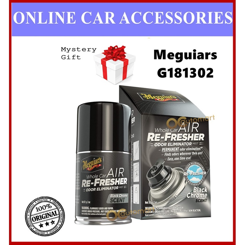 ( Free Gift ) Meguiars Meguiar's G181302 Air Re-Fresher / Air Freshener Black Chrome Scent 2oz