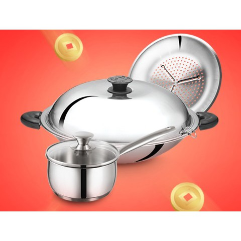 [READY STOCK] 40CM YADENG SERIES S/S Round Bottom Wok + Free Steamer 牛头牌40cm雅登炒锅+免费蒸架
