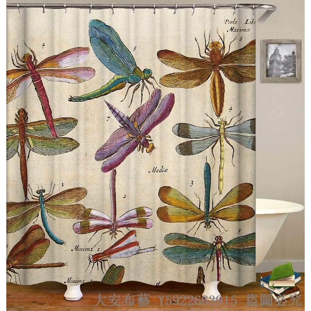 Newgq74 Bathroom 3d Printing Animal Thickening Shower Curtain Dragonfly Poly