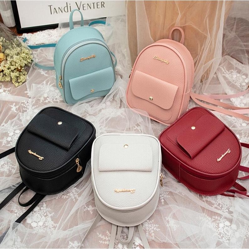 2332665a3a7 Women Mini Backpack PU Leather Multi-Function Travel Shoulder Backpack Bag