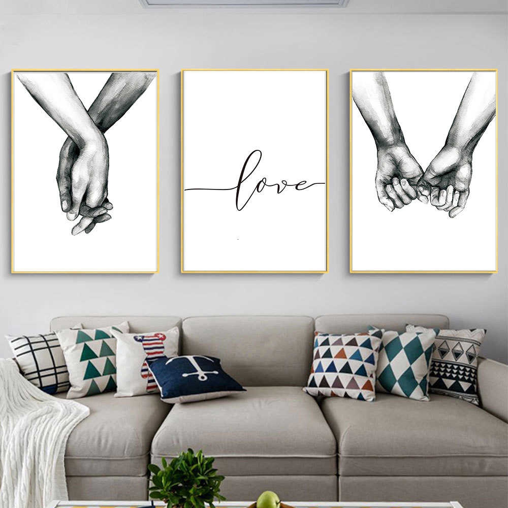Nordic Poster Holding Hands Canvas Prints Lover Quote Wall Pictures Living  Room Decor
