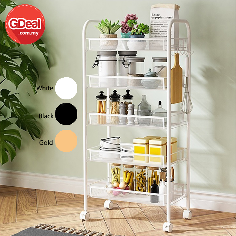GDeal 5 layers Multi-Function Trolley Bathroom Kitchen Rack With 4 Wheels And Hooks