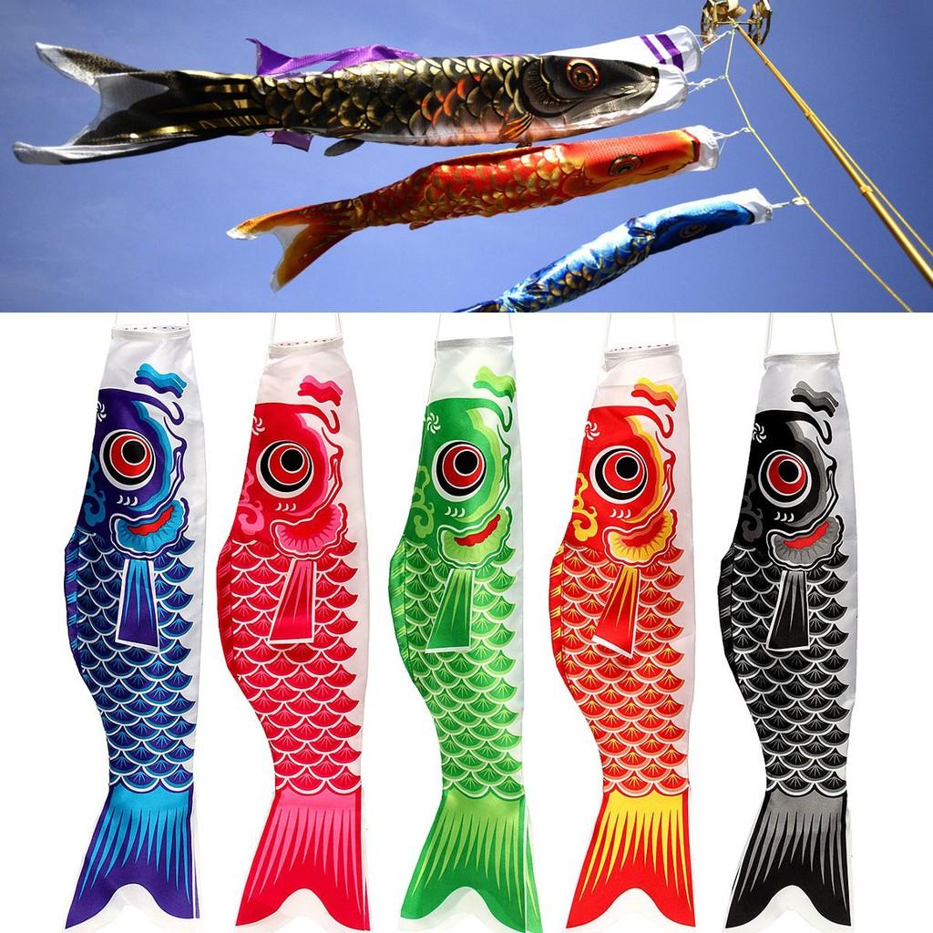 Carp Wind Sock Koinobori Fish Kite Flag Hanging Wall Decor 70cm Gold Black